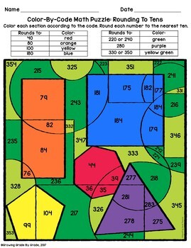 Color By Code Math Puzzles For Upper Elementary