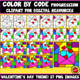 Color By Code Progression Clipart (Valentine's Day Set 3)