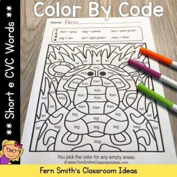 Color By Code Short e Words