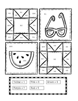 Color By Code - Summer Quilt (Subtraction within 10)