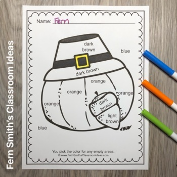 Color By Code Thanksgiving Fun Know Your Numbers and Know Your Colors Bundle