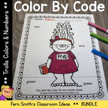 Color By Code Trolls Know Your Numbers and Know Your Colors Bundle