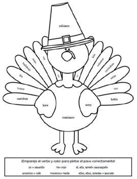 Color-By-Conjugation Present and Preterite Tense Turkeys