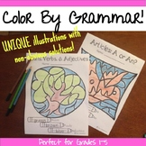 Color By Grammar: Mystery Pictures: Review or Assessment of Grammar Topics!