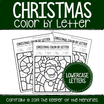Color By Lowercase Letter Christmas Preschool Worksheets