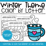Color By Lowercase Letter Winter Preschool Worksheets