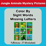 Color By Missing Letter - Dolch Sight Words - Jungle Animals Mystery Pictures