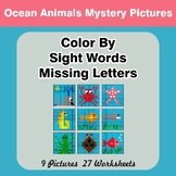 Color By Missing Letter - Dolch Sight Words - Ocean Animals Mystery Pictures