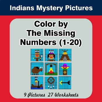 Color By Missing Numbers 1-20 - Native American Indians - Math Mystery Pictures