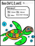 Color By Music-Bass Clef Notes C, D, and E (Sea Turtle) mu