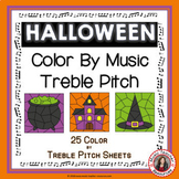 Color By Music Halloween: 25 Color by Treble Pitch Sheets