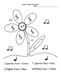 Color By Music Note- Simple Flower w/Symbols