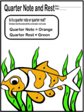 Color By Music- Quarter Note and Quarter Rest (Koi) Music