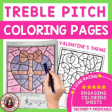 Color By Music Valentine's Day: 25 Color by Treble Pitch Sheets