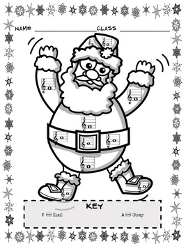 Music Coloring Sheets (Christmas Color By Note) by Emily Conroy | TpT