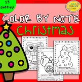 Christmas Color By Note (13 Christmas Music Coloring Sheet Activities)