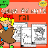 Color By Note Fall (13 Fall Music Worksheets)