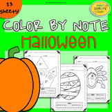 Music Coloring Sheets (Color By Note Halloween)