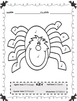 Music Coloring Sheets Color By Note Halloween by Emily