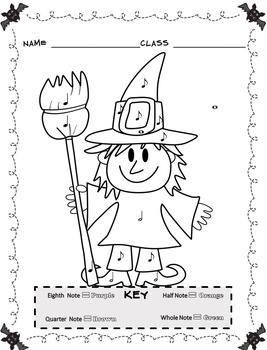 Music Coloring Sheets (Color By Note Halloween) by Emily Conroy | TpT