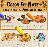 Treble Clef Worksheets ~ Color By Note Disney Theme ~