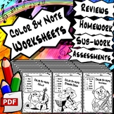 Color By Note - Musical Symbols Worksheets For Elementary Learners