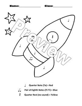 Color By Note Rocket Ship