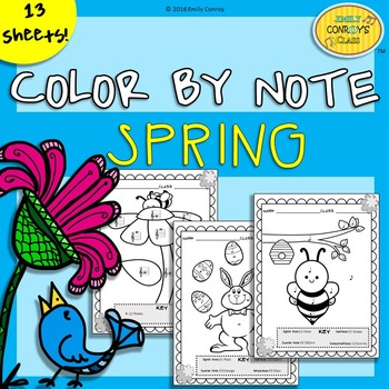 Music Coloring Sheets (Spring & Easter Color By Note) by Emily Conroy