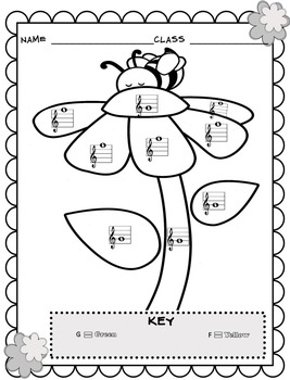 Music Coloring Sheets (Spring U0026 Easter Color By Note)