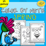 Spring Music Coloring Sheets (13 Spring Color By Note Activities)