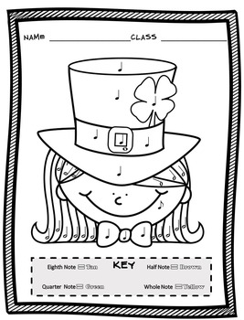 St. Patricks Day Color By Note (12 St. Patrick\'s Day Music Coloring Sheets)