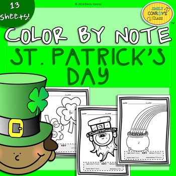 Music Coloring Sheets (St. Patrick's Day Color By Note)
