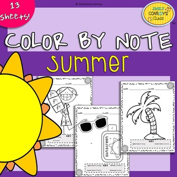 Music Coloring Sheets (Summer Color By Note)