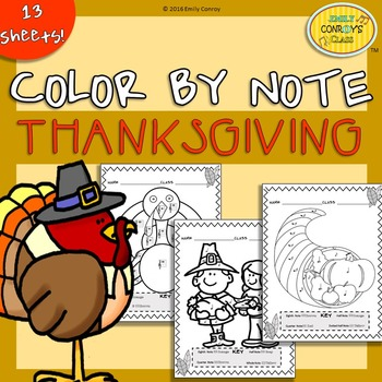 Music Coloring Sheets (Thanksgiving Color By Note)