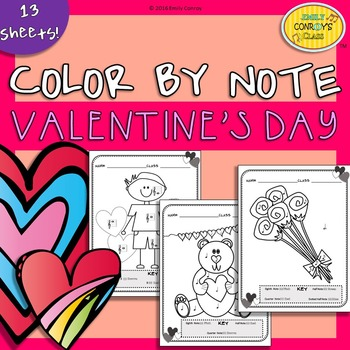 Valentine's Music Coloring Sheets (Valentine's Day Color By Note)