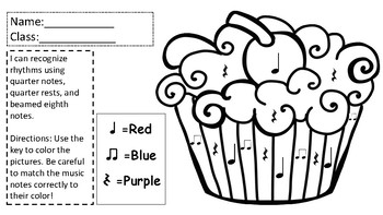 Color-By-Note Valentines Day Cupcakes