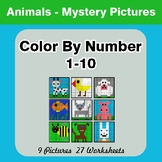 Color By Number 1-10 | Animals Mystery Pictures