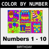 Color By Number 1-10 - Birthday