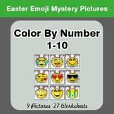 Color By Number 1-10 | Easter Emoji Mystery Pictures