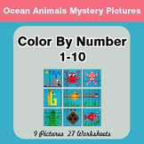 Color By Number 1-10 | Ocean Animals Mystery Pictures