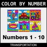 Color By Number 1-10 - Transportation