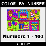 Color By Number 1-100 - Birthday