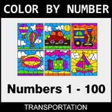 Color By Number 1-100 - Transportation