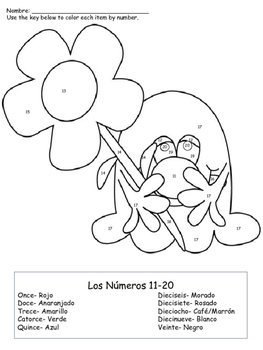 Color By Number 10-20 Spanish