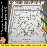 Color By Number Addition For Math Remediation Sums to 10 M