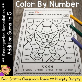 Color By Number Addition For Math Remediation Sums to 5 Humpty Dumpty Themed