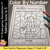 Color By Number Addition For Math Remediation Sums to 5 Ja