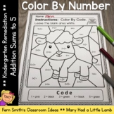 Color By Number Addition For Math Remediation Sums to 5 Ma