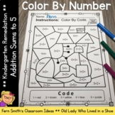 Color By Number Addition For Math Remediation Sums to 5 Ol