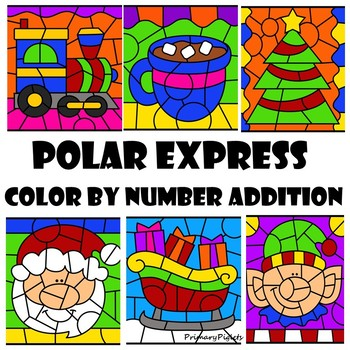 Color By Number Addition Polar Express Christmas